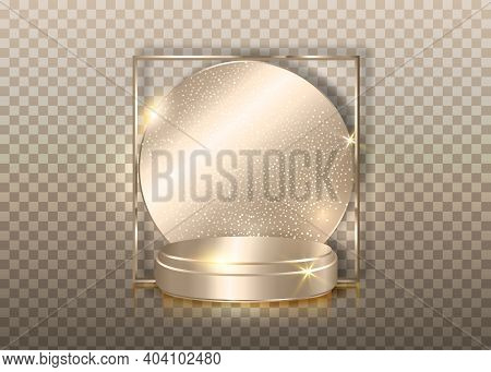 3d Platform Studio Minimal Scene With Silver Platform, Transparent Background Vector 3d Luxury Podiu