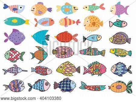 Cute Fish Big Set. Clipart Bundle With Underwater Animals