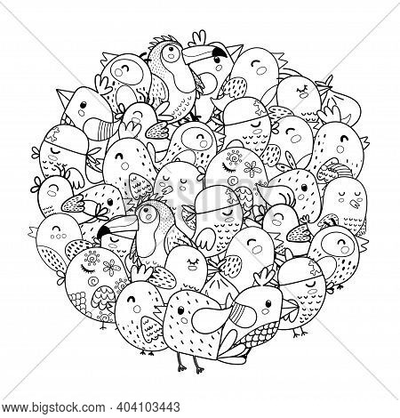 Doodle Birds Circle Shape Pattern For Coloring Book. Coloring Page