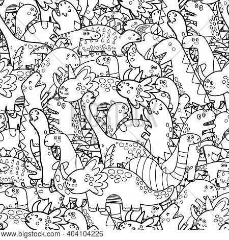 Cute Dinosaurs Black And White Seamless Pattern. Doodle Dinos Coloring Page