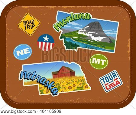 Montana, Nebraska Travel Stickers With Scenic Attractions And Retro Text On Vintage Suitcase Backgro
