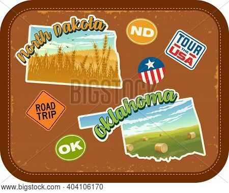 North Dakota, Oklahoma Travel Stickers With Scenic Landscapes And Retro Text On Vintage Suitcase Bac