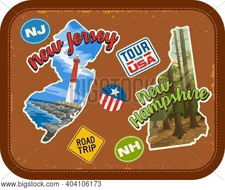 New Jersey, New Hampshire Travel Stickers With Scenic Attractions And Retro Text On Vintage Suitcase