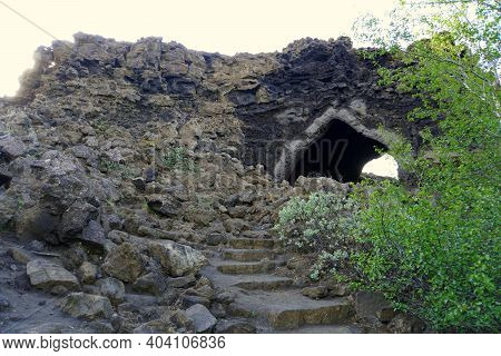 The View Of The Kirkjan, The Old Church With Natural Rock Structure At Dimmuborgir Lava Formations N