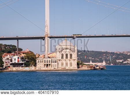 View From The Waters Of Bosporus Strait On The Buyuk Mecidiye Ortakoy Mosque, Restored Baroque Reviv