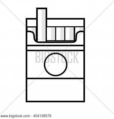 Cigarette Box Line Icon On White Background. Flat Style. Cigarette Sign. Open Cigarettes Pack Box Sy