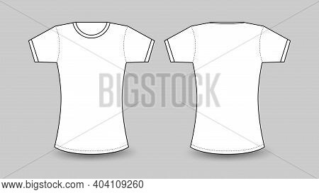 Womens White T-shirt With Short Sleeve, T Shirt Mockup In Front And Back View Vector Template Illust