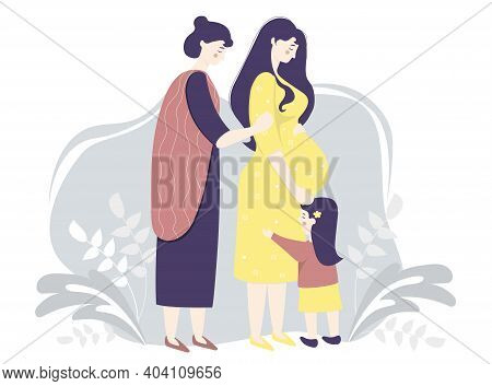 Motherhood And Family Vector Flat. Happy Pregnant Woman In A Yellow Dress Gently Hugs Her Belly. Nex