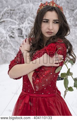 Young Girl In A Long Red Dress Holds A Rose In Her Hands. Winter Portrait.