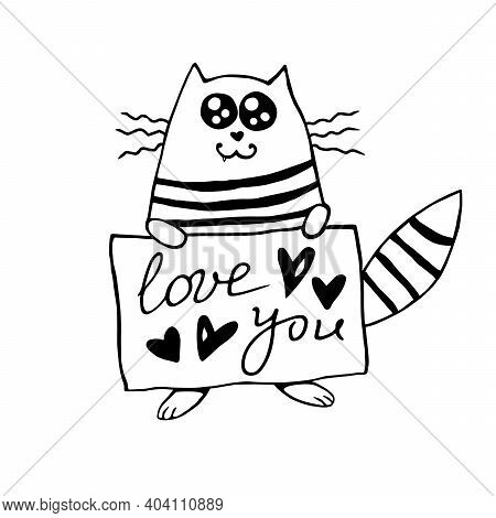 Vector Cute Cat Outline With The Inscription Love You. Hand Drawn Doodle. Simple Design Element For