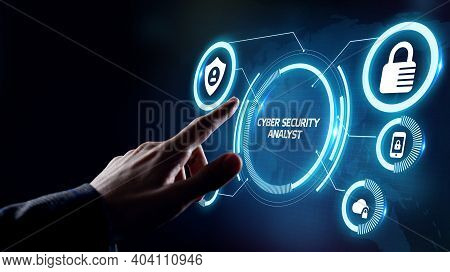 Cyber Security Data Protection Business Technology Privacy Concept. Cyber Security Analyst