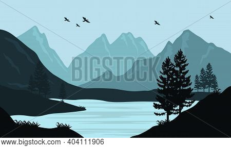 Beautiful Atmosphere In The Morning With The Soothing Nature Scenic. Vector Illustration