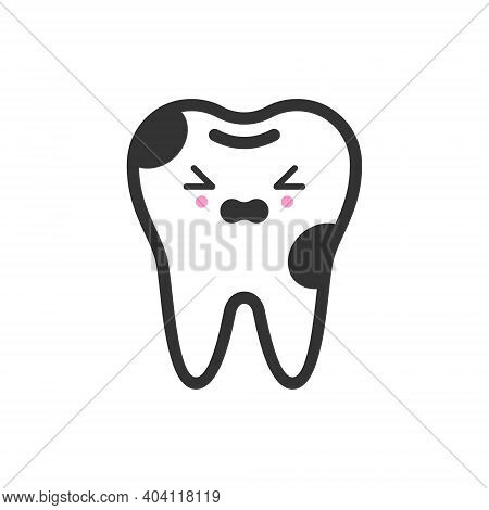 Caries Tooth With Emotional Face, Cute Vector Icon Illustration