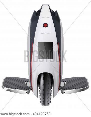 Unicycle (monowheel Balance Vehicle) Isolated On White Background - 3d Illustration