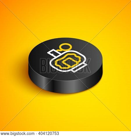 Isometric Line Aftershave Icon Isolated On Yellow Background. Cologne Spray Icon. Male Perfume Bottl