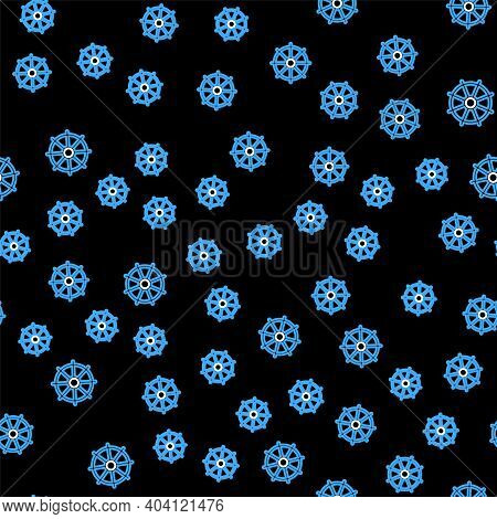 Line Dharma Wheel Icon Isolated Seamless Pattern On Black Background. Buddhism Religion Sign. Dharma