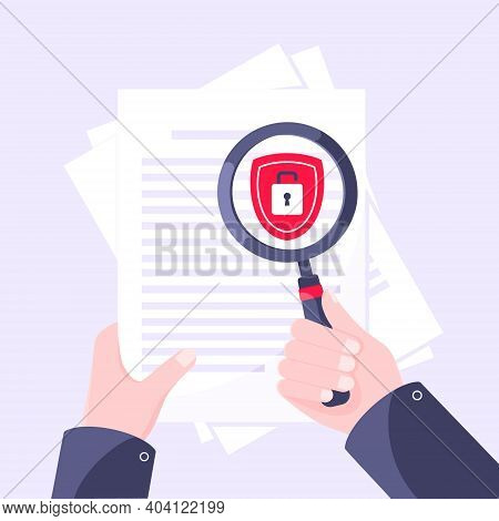 Privacy Policy, Safety Lock And Data Protection Metaphor. Hand Hold Magnifier Shield With Padlock On