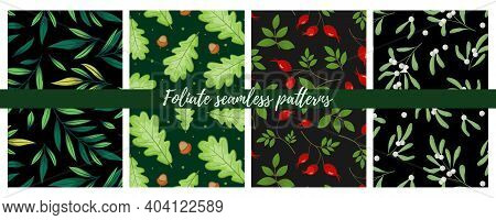 Set Of Foliate Seamless Patterns; Floral Dark Backgrounds For Wrapping Paper, Packaging, Fabric, Tex