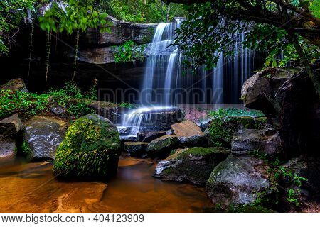 A Small Waterfall In The Deep Forest Of The Border Of Thailand And Cambodia,asia.khun Sri Waterfall
