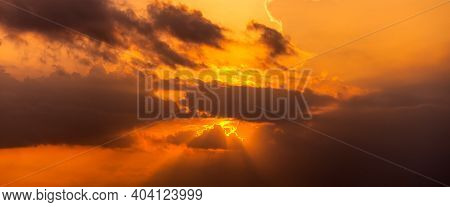 Panorama Sunset With Clouds, In Orange And Colorful Shades,world Environment Day Concept: Fiery Oran