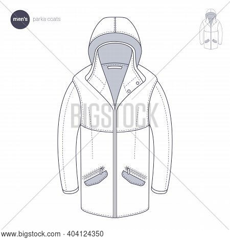 Men Parka. Clothes Icons, Thin Line Style. Retail Online Store Catalog Sections Signs And Objects. V