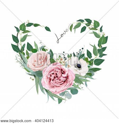 Vector Art Floral Heart Shape Watercolor Bouquet Illustration. Mauve Peach Pink Garden Roses, Anemon