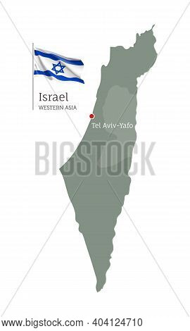Silhouette Of Israel Country Map. Highly Detailed Editable Map Of Israel With National Flag, Western