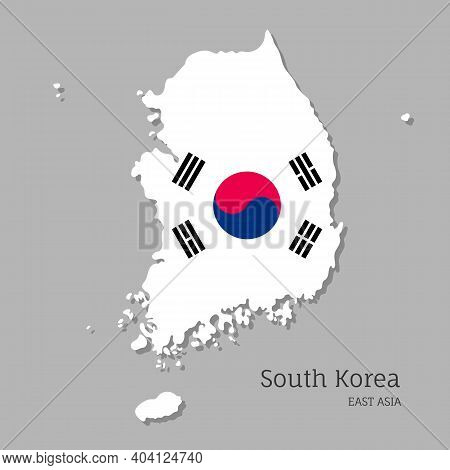 Map Of South Korea With National Flag. Highly Detailed Editable Map Of South Korea, East Asia Countr
