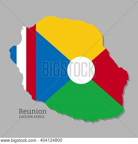 Map Of Reunion With National Flag. Highly Detailed Editable Map Of Eastern Africa Country Territory