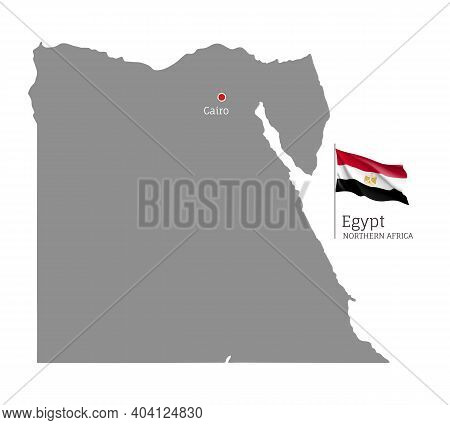 Silhouette Of Egypt Country Map. Gray Editable Map With Waving National Flag And Cairo City Capital,