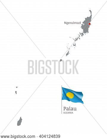 Silhouette Of Palau Country Map. Gray Detailed Editable Map Of Palau With Waving National Flag And N