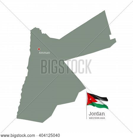 Silhouette Of Jordan Country Map. Highly Detailed Editable Map Of Jordan With National Flag And Amma