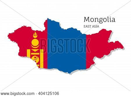Map Of Mongolia With National Flag. Highly Detailed Editable Map Of Mongolia, East Asia Country Terr