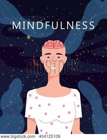 Mindfulness Concept Woman In Yoga Pose Meditation. Open Brain Mental Calm Mind, Releasing Stress. Ve