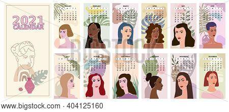 2021 Calendar Faces Woman Portraites Minimal Abstract Contemporary Style. Set Female Portraites Mini