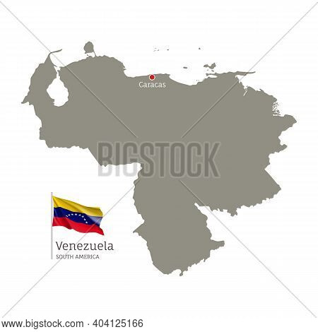 Silhouette Of Venezuela Country Map. Gray Editable Map With Waving National Flag And Caracas City Ca