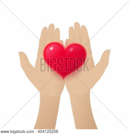 Human Hands Holding Red Heart. Female Hands Giving Glossy Heart, Romantic Love Concept. Wedding And
