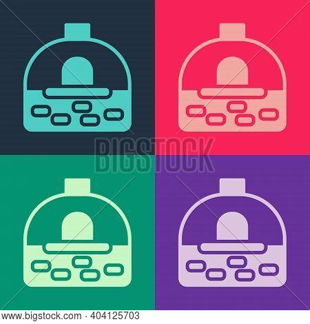 Pop Art Brick Stove Icon Isolated On Color Background. Brick Fireplace, Masonry Stove, Stone Oven Ic