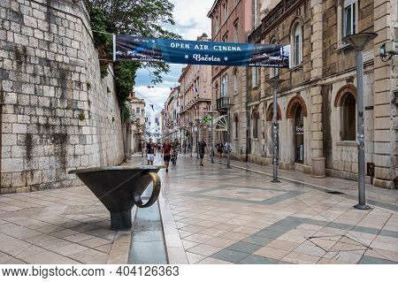 Split, Croatia - Jun 22, 2020: This Enormous Funnel Is Part Of The Contemporary Of The Fountain In T