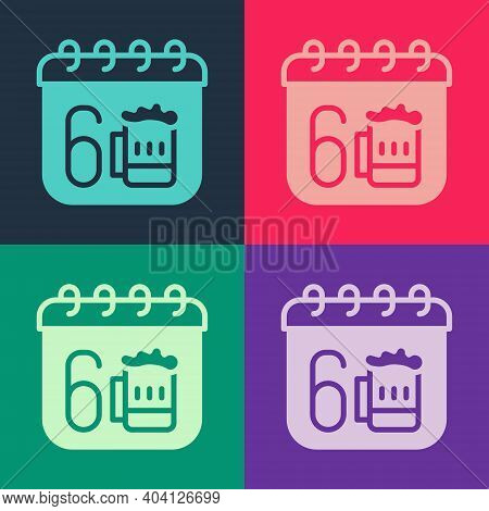 Pop Art Saint Patricks Day With Calendar Icon Isolated On Color Background. Four Leaf Clover Symbol.