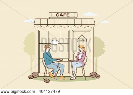 Coffee Shop And Cafeteria Concept. Young Smiling Couple Cartoon Characters Sitting Outdoors Drinking