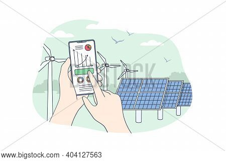 Sustainable Renewable Energy Concept. Human Hands Holding Mobile Smartphone With Electricity Energy