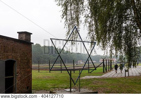 Sztutowo, Poland - Sept 5, 2020: The Symbolic Star Of David Next To The Gas Chamber At The Former Na