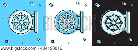 Set Dharma Wheel Icon Isolated On Blue And White, Black Background. Buddhism Religion Sign. Dharmach