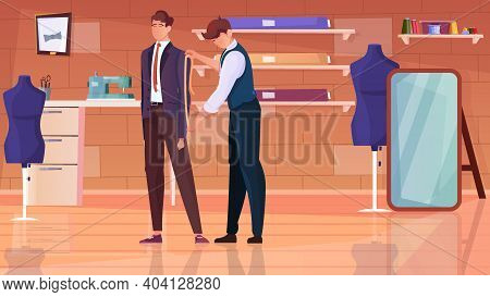 Tailoring Atelier Flat Background With Professional Tailor Taking Measurements From Client Vector Il