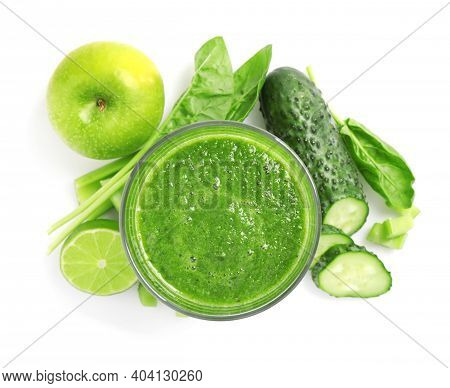 Green Juice And Fresh Ingredients On White Background, Top View