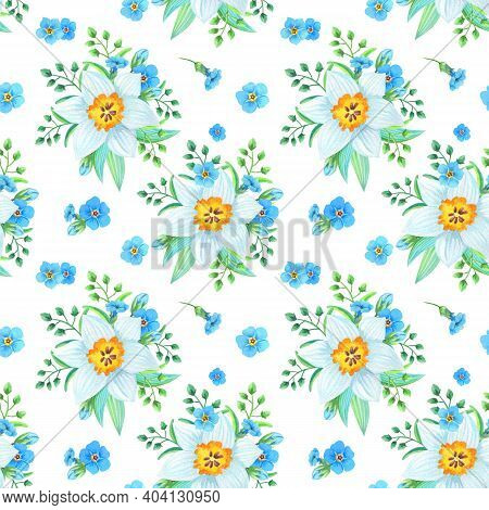 Watercolor Illustration With Forget-me-nots, Myosotis, Daffodil On A White Background