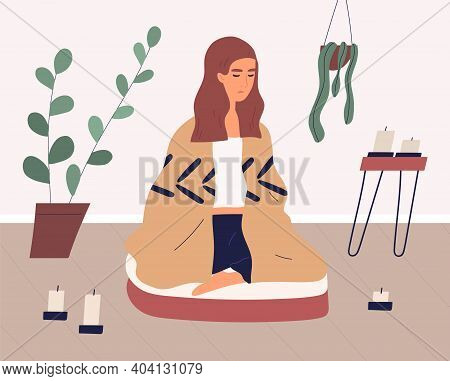 Woman Meditating In Cross Legged Posture On Yoga Cushion. Relaxed Person Practicing Mindfulness Or V