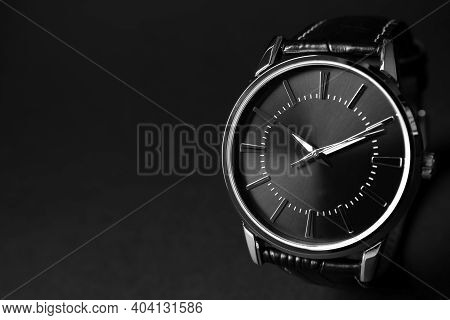 Luxury Wrist Watch On Black Background, Closeup. Space For Text