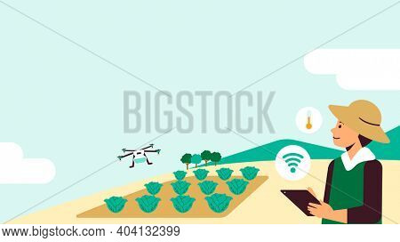 Agricultural drone smart farming social media background illustration